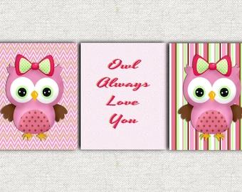 Owl nursery wall decor baby's room art pink and green little girl's room wall art decor digital art printable wall art