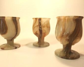 Vintage Hand Carved Alabaster Goblets—Beautiful Veins