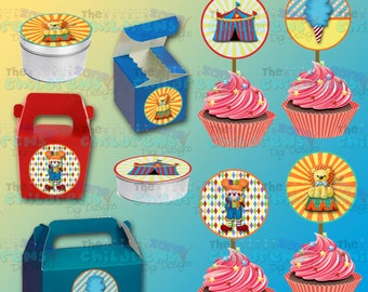 Printable Circus Cupcake Toppers- Circus Stickers-Circus Party-Circus Favors-Carnival Party-Carnival Favors-Carnival Cupcake toppers-Clowns