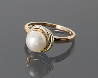 Pearl ring, Gold pearl ring, June birthstone, Rose gold ring, Bridesmaid ring, 14k gold ring, 14k rose gold ring, Birthday gift ring