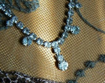 Vintage Rhinestone Choker; Vintage Rhinestone Necklace; Vintage Jewelry; Retro Necklace - Free Shipping