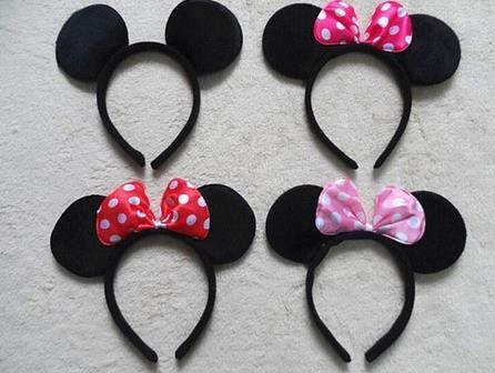 5 minnie mouse mickey mouse ears ready to shipparty favors. Black Bedroom Furniture Sets. Home Design Ideas