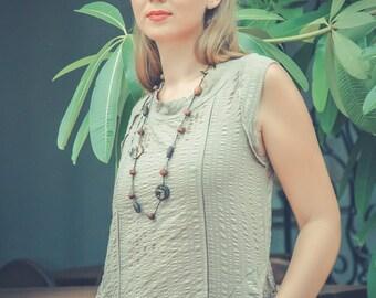 JULIA Khaki Green Cotton Smock Style Dress