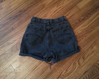 Vintage High Waist Denim Cut Off Shorts Size 9 Washed Faded Black Grunge Festival 90s 80s