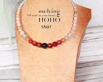 Gradient Beading Silver Necklace