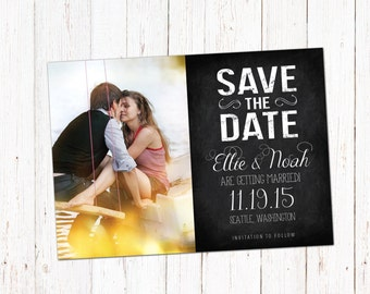 Save The Date template card. Digital engagement announcement card design. Photoshop PSD files 5x7.
