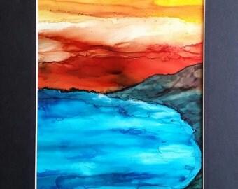 Alcohol ink, alcohol ink painting, alcohol inks, ink art, alcohol ink landscape painting, mountains, ocean