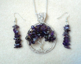 Amethyst and Silver Wire Wrapped Tree of Life Pendant and Earring Set