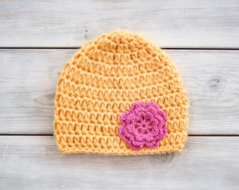 Crochet Flower Hat - Yellow & Pink