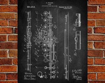 Flute Art Print,  Patent, Flute Vintage Art,  Blueprint,  Poster, PatentPrints, Wall Art, Decor [MU21A]