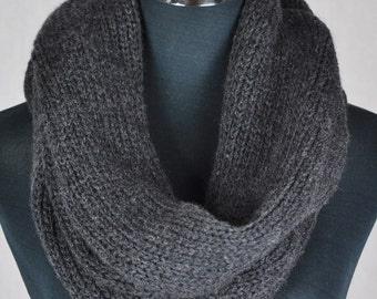 Knit scarf. Black infinity scarf.Handmade Merino wool Snood Charcoal scarf. Gift  for her Circle scarf
