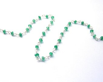 10 cm silver chain 925 with green Onyx spacer beads PA0160