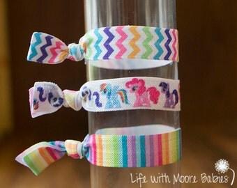 My Little Pony Hair Ties Set of 3, Elastic Ponytail Holders, Hair Ties, Rainbows, Ponies