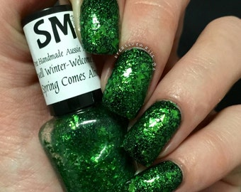 Spring Comes Alive/ Green Flakies/Indie Nail Polish