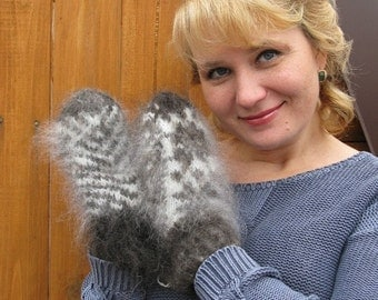 Downy mittens. Grey and white mittens made of goat down with pattern.
