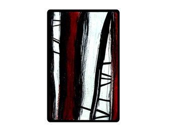 Abstract ACEO original red black and white recycled art upcycled - Climb - playing card miniature painting