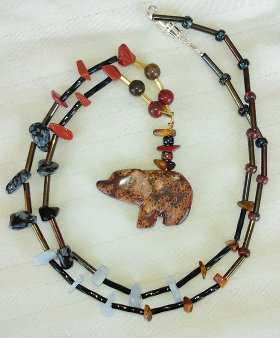 Jasper Leopard Skin  Stone Carved Bear Pendent Necklace with semi precious stone nuggets and Czech glass beads