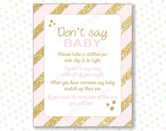 Dont say baby game Pink Gold (INSTANT DOWNLOAD) - Dont say baby - Pink and gold baby shower games - Baby shower activities BA001G