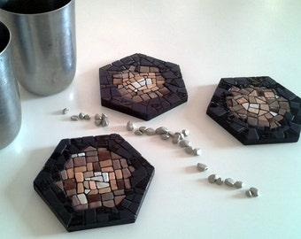 3 mini-mosaiques / Creations poser - POLYS - BRONZE - L 8.5 cm series