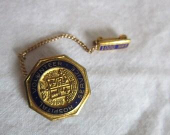 Antique Gold Filled? And Enameled Hospital Volunteer Service 1000 Hours Pinback