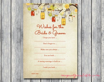 Wishes for the bride and groom card, Autumn Bridal Shower Game Printables, Fall Mason Jars Bridal Shower Game, Wedding Shower Games BS114