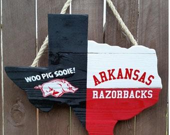 Rustic Wooden University of Arkansas Texas shaped Flag Door/Wall Hanging