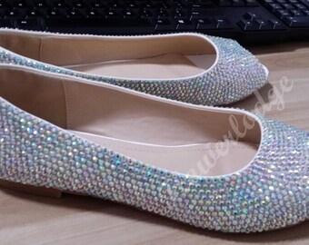 Rhinestone Ballet Flats Women Shoes AB Crystal Stones Sparkle Open Toe Flats Glitter Bling Peep Toe Ballet Flat Shoes Comfortable Flat Shoes