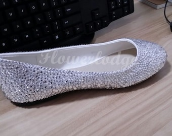 Silver Crystal Women Flat Shoes Clean Stones Ballet Flats Bling Shoes Customize shoes for Adult Women and Children Toddler Youth