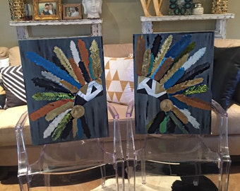 2 abstract feather headpiece paintings