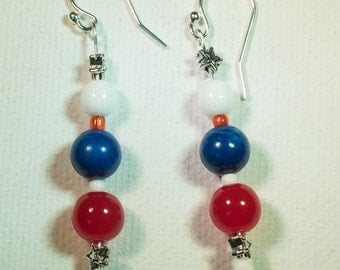 Patriotic beaded earrings-A162