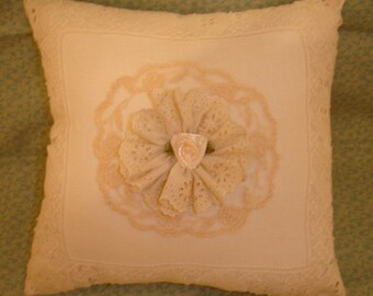 Hand Made Cream Antique Lace Pillow