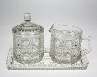 Vintage sugar and cream set - Clear glass - With tray - Coffee Tea Set