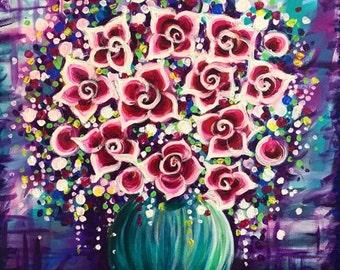 Purple vase flowers painting