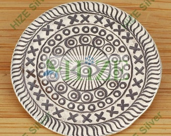 HIZE SC106 Thai Karen Hill Tribe Silver Tribal Eye Heaven Disc Pendant 36mm
