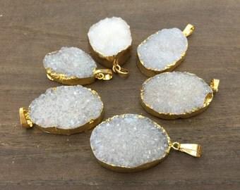 5pcs Wholesale Druzy Pendant Quartz Druzy Geode Pendant Gold Plated Natural Gemstone Pendant Raw Crystal Quartz drusy pendant