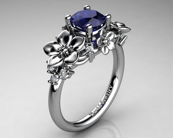 Nature Inspired 14K White Gold 1.0 Ct Blue Sapphire Diamond Leaf Vine Unique Floral Engagement Ring R1026-14KWGDBS