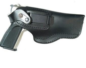 CZ 75 Belt Slide Right and Left Hand Holster Black Leather Slide Guard