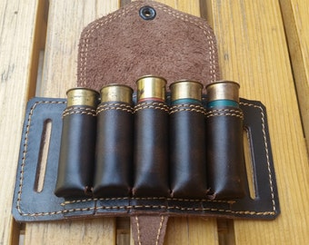 Leather Bandolier, custom, genuine leather, bandolier belt, 5 hunting cartridges