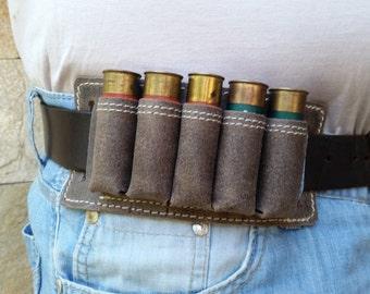 Leather Bandolier, custom, genuine leather, bandolier belt, 5 hunting cartridges