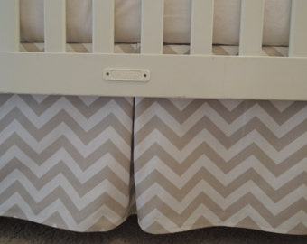 Taupe Chevron Crib Skirt with Pleat