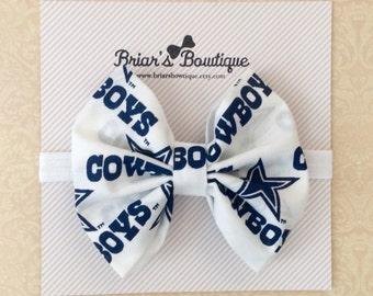 Dallas Cowboys clip or headband; football bow; Cowboys fabric bow on white elastic headband or clip; Team bow; baby, toddler, girl