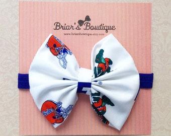 Florida Gators bow clip or headband; College team bow; Gators fabric bow on royal blue headband or clip; Team bow; baby, toddler, girl