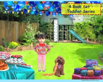 4x Personalized Children's Books with Photo- Set of 4 personalized kids eBooks for Toddlers with their photo and name.