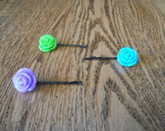 Choice of a Set of Three (3) Bobby Pins | Hearts, Resin Flowers, or Paper Flowers