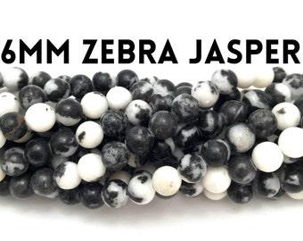 "6mm Natural Zebra Jasper Gemstones 16"" Strand (68 beads)"