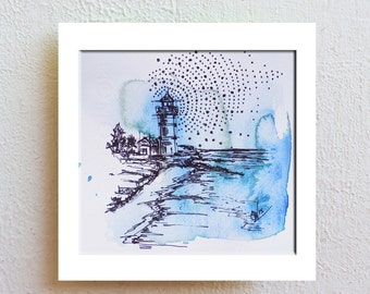 Nautical Art, Drawing, Maritime Art, Lighthouse, Nautical Art, Sketch, Wall Art, Pen Drawing,  Fine Art, Pen and Ink Art