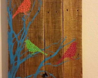 Wall Art Home Decor Three Little Birds on Reclaimed Wood Recycled