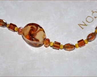 Gold Beaded Necklace, Lampwork Necklace, Inner Twist Beads, 36 Inch Necklace, Glass Bead Necklace, Amber Necklace, Swarovski