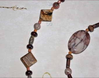 Brown Bead Necklace, Rust Swirl Beads, Brown and Tan Beads, Brecciated Beads, Extra Long Necklace, Double Strand Beads