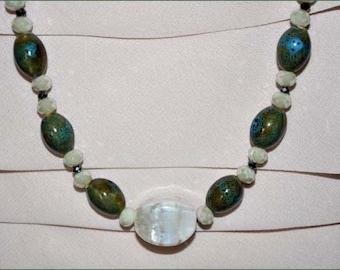 Aqua Necklace, Robins Egg Beads, Seafoam Beads, Glass Bead Necklace, Blue Beaded Necklace, Focal Bead, Long Beaded Necklace, Flower Clasp